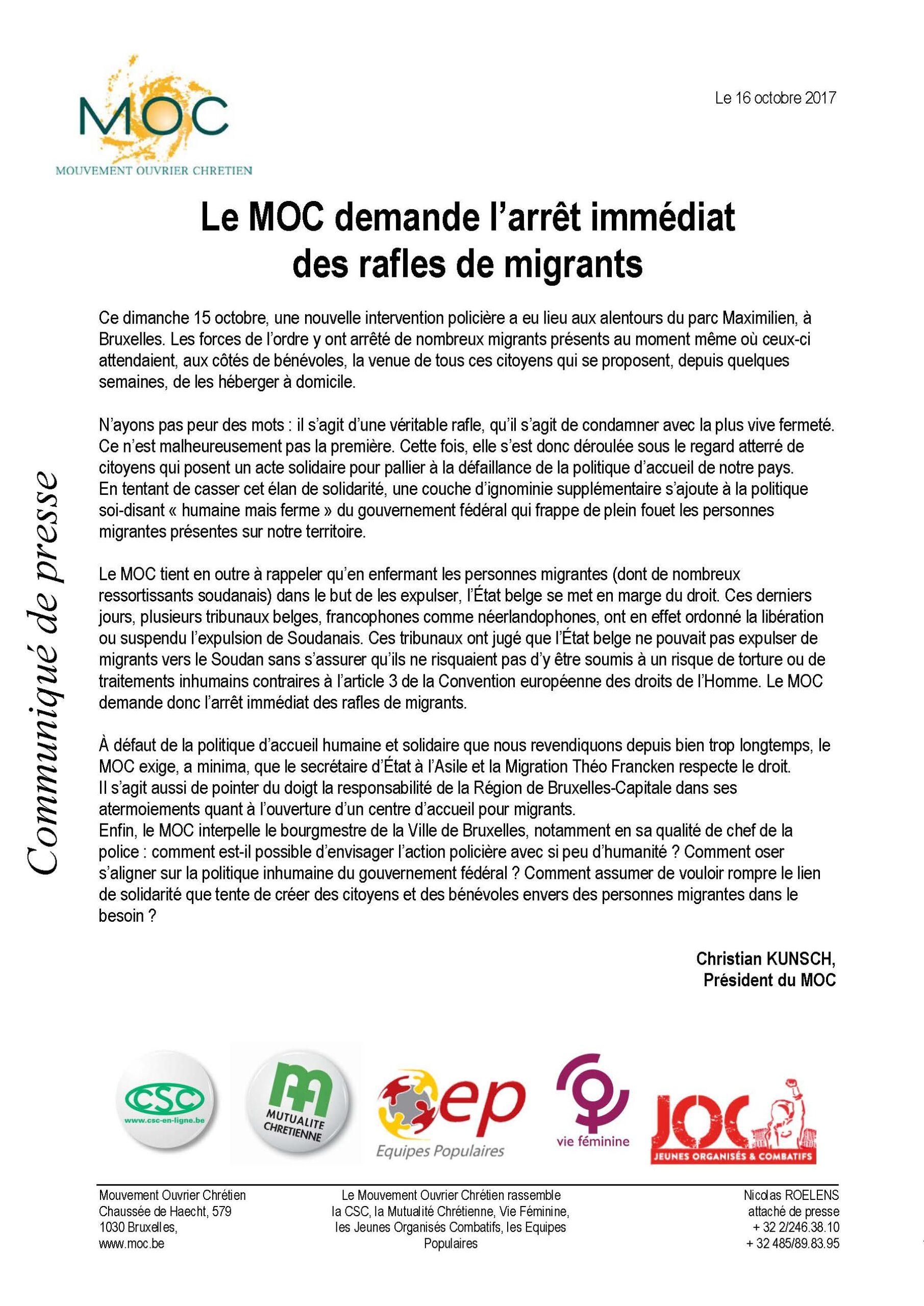 Le MOC demande l'arrêt immédiat des rafles de migrants